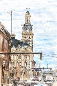 wayne county courthouse wooster ohio watercolor pen and ink original painting