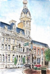 wayne county courthouse wooster ohio downtown watercolor pen and ink original parinting